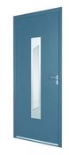 Porte d'entrée ASSAM en aluminium laqué gauche poussant haut.2,15m larg.90cm gris/blanc - Portes d'entrée - Menuiserie & Aménagement - GEDIMAT