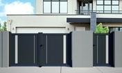 Portail battant ALIA en aluminium haut.1.60m larg.entre piliers 3.56m coloris gris 7016STR - Portails - Barrières - Menuiserie & Aménagement - GEDIMAT