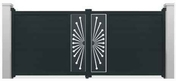 Portail battant NEO1 en aluminium haut. 1,80m larg. 3,00m coloris gris 7016  - Portails - Barrières - Menuiserie & Aménagement - GEDIMAT