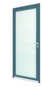 Porte d'entrée Aluminium TINOS gauche poussant haut.2,15m larg.90cm laqué gris - Portes d'entrée - Menuiserie & Aménagement - GEDIMAT
