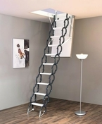 Escalier escamotable Accordéon en Sapin  2m80 - Carrelage pour sol extérieur en grès cérame émaillé ESTATE dim.45x45cm coloris anthracite - Gedimat.fr