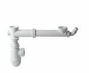 Tube de raccordement avec siphon pour évier 2 bacs avec prise machine à laver - Meuble sous évier à poser SINOP 2 portes 120 x 60 cm - Gedimat.fr