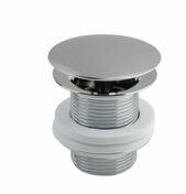Bonde lavabo-vasque écoulement libre, haut.60mm, clapet laiton chromé diamètre 66 mm, corps laiton chromé, serrage 8.35 mm, sans lanterne, débit 45 l.mn - Siphon lavabo plastique, réglable min. 50.max. 106mm, entrée 1''1.4, sortie  diamètre32, garde d'eau 50 mm, débit 43 l.mn - Gedimat.fr